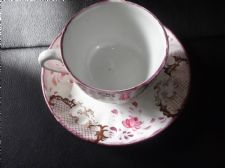 ANTIQUE HANDPAINTED FLORAL SWIRL CUP & SAUCER  CHARLES ALLERTON & SONS LUSTRE